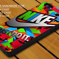Colorful Nike Just Do It - iPhone 4 / 4s or iPhone 5 Case - Hard Case Print - Black or White Case - Please leave message