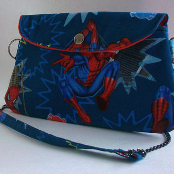 Spiderman Clutch Purse with Chain Strap / Marvel Comics Bag / Comic Book