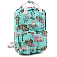London Scene Printed Canvas Laptop Backpack School Bookbag Travel Daypack