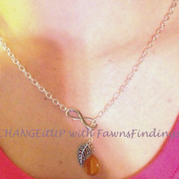 Lariat Infinity Leaf With or Without the Amber Colored Bead Necklace