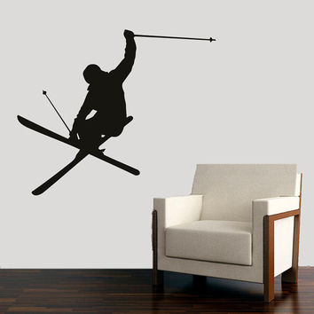 Wall Decal Vinyl Sticker Decals Art Decor Design Skiing Ski Sport Snowboard Mans Gift Extrime Jumping Bedroom Modern Fashion (r495)