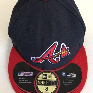 DCCKIHN ATLANTA BRAVES MLB NEW ERA 5950 NAVY W/ TOMAHAWK RED BRIM FITTED HAT