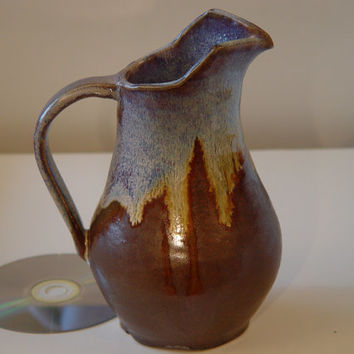 "Pitcher Ewer Jug, pottery, Blue and Brown, ""Mountain Skyline"", Wheel Thrown Stoneware Quart ceramic"