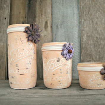Home and Wedding Decor - Milk Paint, Distressed Mason Jar, Vase or Organization