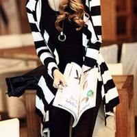 White and Black Hooded Striped Long Sleeves Cardigan