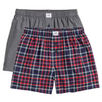 H&M - 2-pack Boxer Shorts - Red/checked - Men