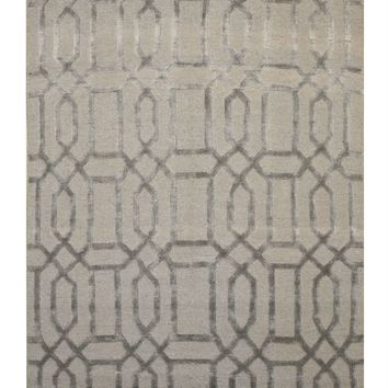 EORC Hand-knotted Wool & Viscose Gray Transitional Geometric Links Rug