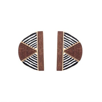 Earrings For Women Gold Plated Brown Wood With Black And White Stripe Acrylic Stud Earring