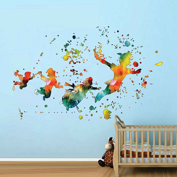cik1822 Full Color Wall decal Watercolor Peter Pan Baby room cot