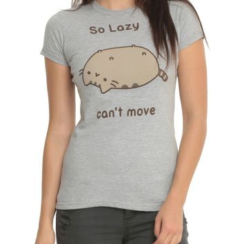 Pusheen The Cat SO LAZY CAN'T MOVE Girls Junior T-Shirt Grey NWT XS-2XL