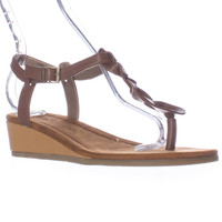 Bearpaw Gia Low Wege Braided T-Strap Sandals - Cognac