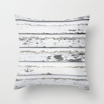 Velveteen Pillow - White Fence - White Throw Pillow - Rustic Decor - Boho - Nature Decor - Farmhouse Chic - Woodlands Decor - White Pillow