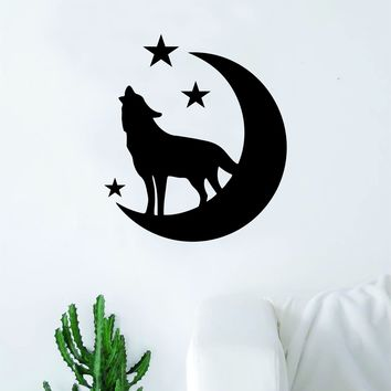 Wolf Moon Stars Decal Sticker Wall Vinyl Art Wall Bedroom Room Decor Decoration Motivation Inspirational Beast Animals