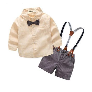 Fashion baby boy clothing set long sleeve shirt + suspender shorts newborn baby boys gentleman clothes suit