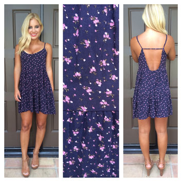 First Bloom Floral Print Dress - NAVY