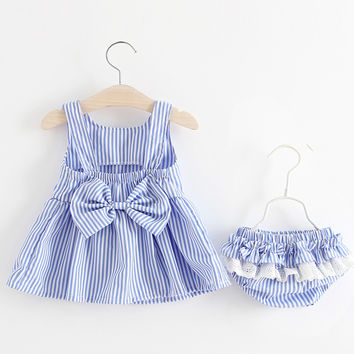 2017 Summer Baby Swing Top Baby Girls Clothing Set Infant Bow Lace Ruffle Outfits Bloomer Headband Newborn Girl Clothes Sets