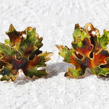 Vintage Maple Leaf Earrings, Fall Brown Green Enamel, Designer WEISS, Gold Clip-ons, 1950s 1960s Mad Men Autumn Woodland Jewelry