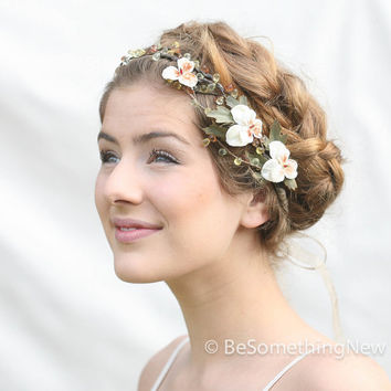 Woodland Wedding Hair Wreath with Vintage Velvet Pansies Wedding Hair Accessory Flower Festival Crown