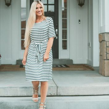 Modest Striped Tie Waist Dress