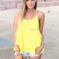 YOUNG AND BEAUTIFUL TOP , DRESSES, TOPS, BOTTOMS, JACKETS & JUMPERS, ACCESSORIES, 50% OFF SALE, PRE ORDER, NEW ARRIVALS, PLAYSUIT, COLOUR, GIFT VOUCHER,,Yellow,Gold,SLEEVELESS,MINI Australia, Queensland, Brisbane