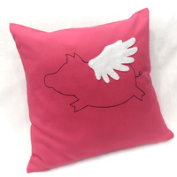 Color Choice. When Pig Flies In Christmas Decorative Red Pillow Cover Cushion Cover. Cute Children Room Decor. Baby Shower Gift