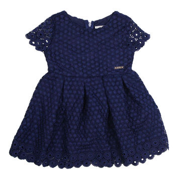 Mayoral Girls' Navy Embroidered Dress
