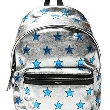 Wiberlux Saint Laurent Men's Blue Star Patch Zippered Backpack