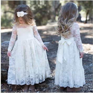 3-10Y Ivory/ Cream Infant Girls Kids Flower Princess Wedding Prom Party Dress with Big Bow Long Sleeved Tulle Lace Tutu Dress