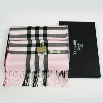 Burberry Plaid autumn and winter cashmere scarf silk scarves feathering Pink