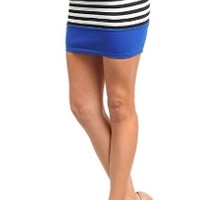 Stretch Pencil Mini Skirt Royal Blue Cobalt, Black, White