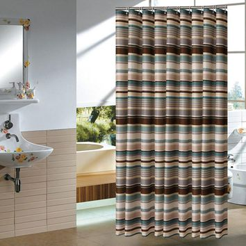 Blue Stripe New Arrive Modern Waterproof Shower Curtains In The Bathroom Products 100% Polyester Bathroom Shower Curtain