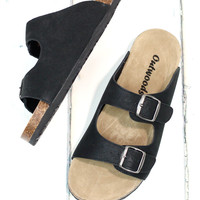 Classic Bork Slide On Sandals Oiled Leather Look {Black}