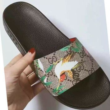 Gucci Fashion Casual Women Print Sandal Slipper Shoes Apricot G