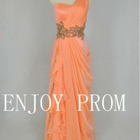 A-line  One shoulder Beading Chiffon floor-Length Bridesmaid/Evening/Prom Dress