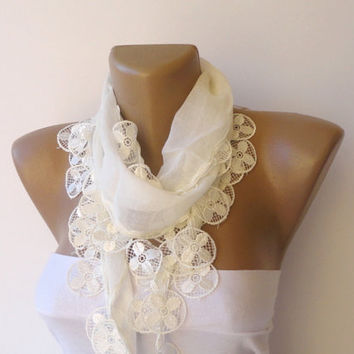 white scarf , women fashion scarves ,Turkish cotton Yemeni fabric scarf with lace