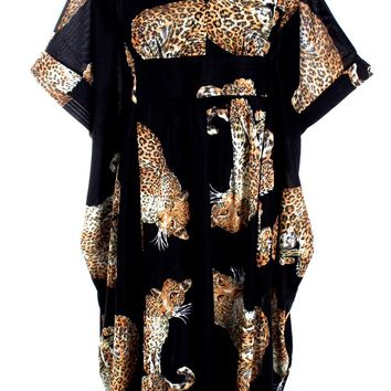 Vintage 1970s Lounge Caftan Robe Cat Leopard Animal Print  Butterfield 8 Nylon O/S