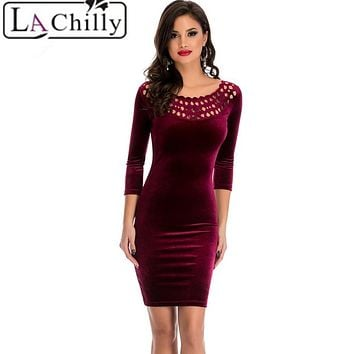 La Chilly 2017 Office Sheath Dress Burgundy Hollow Out Round Neck Sleeved Velvet Dress LC22925 Night Club autumn winter Dresses