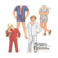 Vintage 1980s Sewing Pattern Teens and  Boy's Pajamas Simplicity 7678 Size 14 16 Uncut