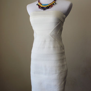 White tube top bandage dress