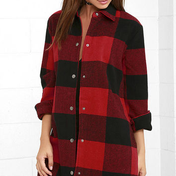 BB Dakota Olive Red Plaid Coat