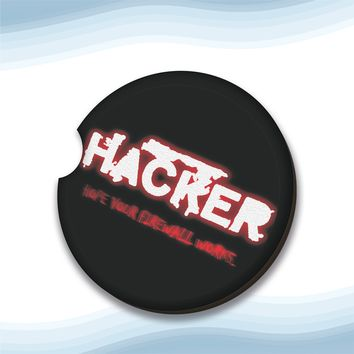 Hacker Firewall.png Car Cup Holder Coasters Hardboard (Set of 2)