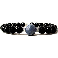 Blue Moon Night Sky Men's Bracelet Featuring Black Onyx and Blue Sponge Coral
