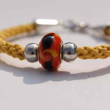 Kumihimo Braided Bracelet. Mustard Waxed Cotton Cord Bracelet with Murano Lampwork Bead.