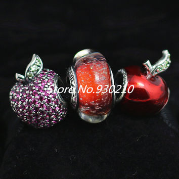 925 Sterling Silver Charm & Murano Glass Bead Sets with Box Fit European Jewelry Bracelets & Necklaces-Snow White's Apple
