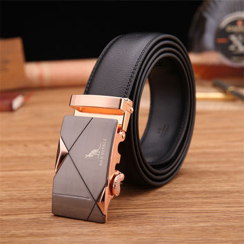 Leather Belt with Automatic Locking Feature in Gold, Silver, and Tungsten