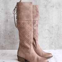 Not Rated Hermosa Cutout Knee-High Boot - Burnished Taupe