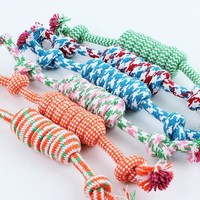 Haapy home Colorful Puppy Dog Pet Toy Cotton Braided Bone Rope Chew Knot For Pet