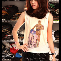 Star Wars R2-D2 & C-3PO Crop Top Shirt Side Boob Short Tank Top Antique Off White Free Size