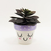 Succulent Planter, Terracotta Pot, Cute Face Planter, Purple Planter, Air Plant Holder, Plant Pot, Violet Pot, Indoor Planter, Mini Planter