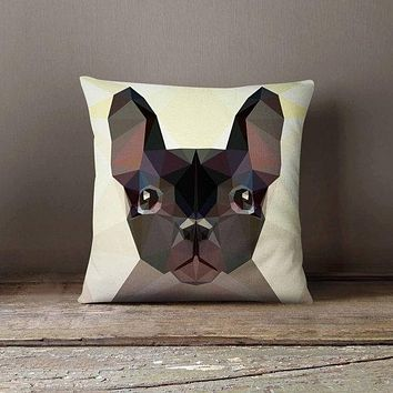Geometric Bulldog Pillowcase | Decorative Throw Pillow Cover | Cushion Case | Designer Pillow Case | Birthday Gift Idea For Him & Her